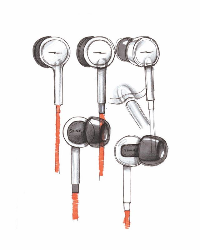 Shinola Canfield Earbuds. #shinola #shinolaaudio #astro #astrostudios #design #designprocess #indistrialdesign #productdesign #sketch #sketching #render #rendering #earbuds #audio #audiofile