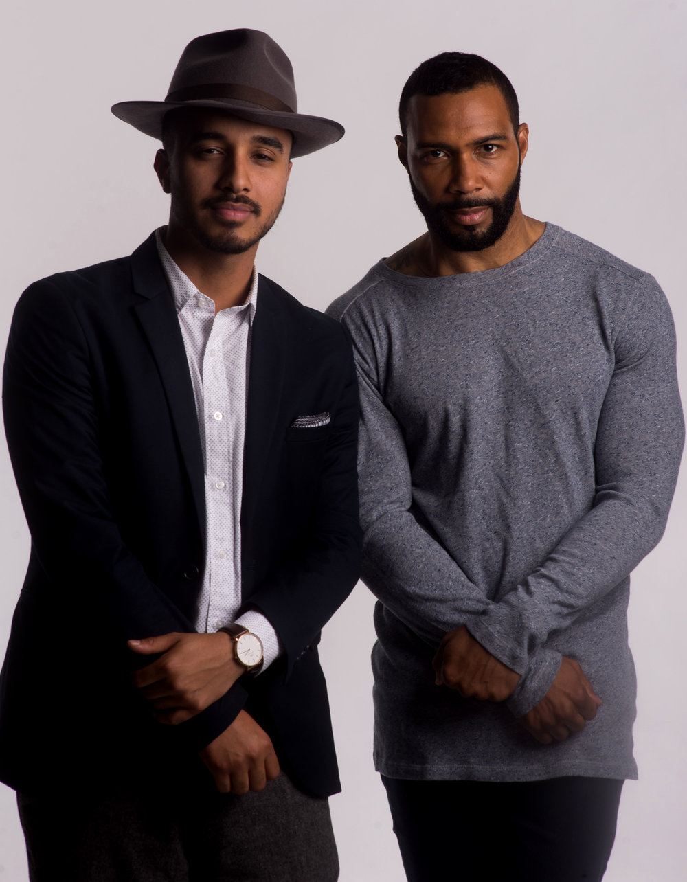 Behind the scenes portrait with Omari Hardwick for our cover editorial.