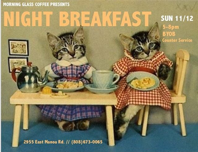 Stoked to announce our last dinner of the year — NIGHT BREAKFAST! SUN 11/12 (5-8pm) Counter service + BYOB. Come see us! 🎉