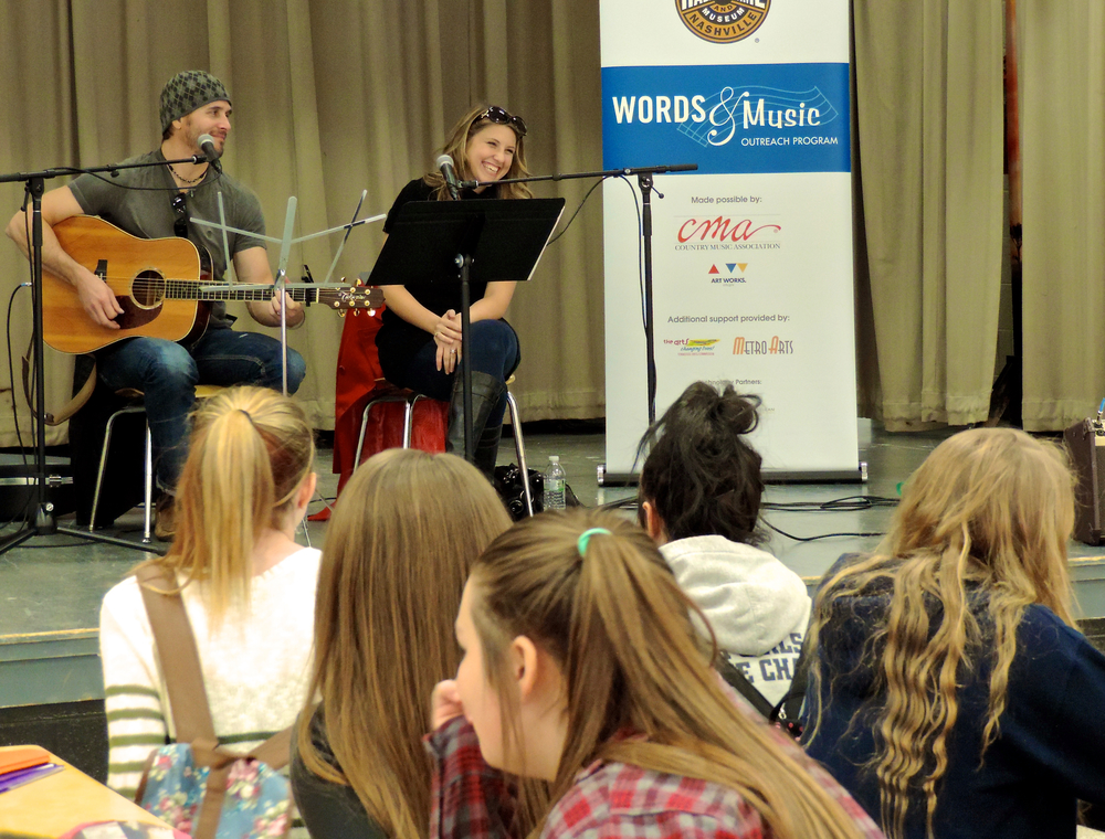 Misty and Jason teaching a Songwriting Clinic at a local school with the Country Music Hall of Fame.