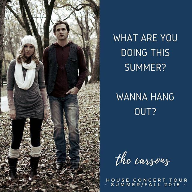 So excited to announce we're now taking submissions for our #adventure2018 #houseconcert tour! Link in bio to the submission page. Best part - shows are #free!!! Spots will fill up quickly so if you're even slightly interested fill it out!! . . . . . . . #husbandwife #nashville #nashvillestorytellers #packitup #letsgo #yarisgetsonemoreride #300kmiles #thecarsons #thecarsonsmusic #houseconcert #homeconcert #goodenoughformozart #crazykids #music #tourlife #doyouknow20people #endingpovertytogether