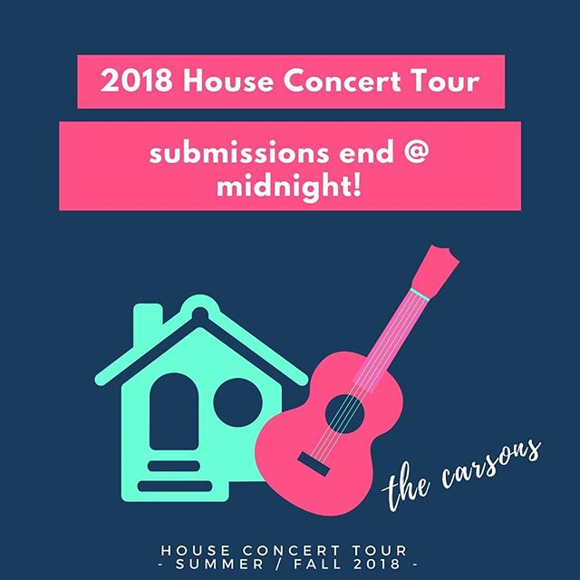 #LastDay to submit for a stop on our #houseconcert tour! Link in Bio! . www.thecarsonsmusic.com/singmeastory . . . . #husbandwife #tourlife #nashville #toyotayaris #az #fl #co #ga #ca #tx #ok #letsgo #adventure2018 #anywhereyouwannago #music #doyouknow20people #endingpovertytogether #fh #freeshow #livemusic #thecarsons #us #thisisus