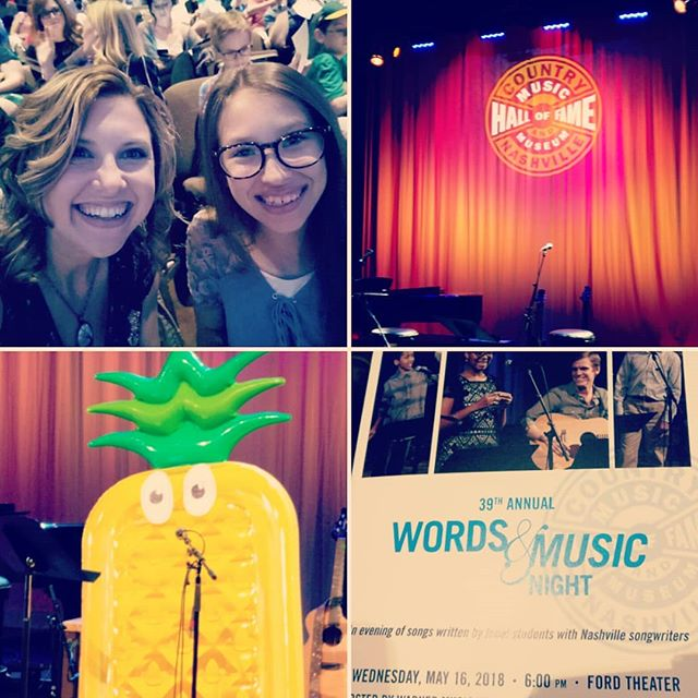 Another great #wordsandmusic night at the @officialcmhof! My song student this year was so amazing and I just know it was a divine match to be paired with her! ..and yes that is a pineapple. . . . . #prettyinpurple #icanlisten #nashville #songwriting #meanttobe #teach #music #inspire #flyingpineapple #mylife #queensdont