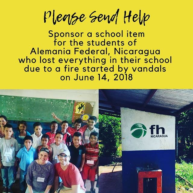 "LINK IN BIO!!! If we've been a little quite lately it's because we've had a lot on our hearts. On June 14, 2018 our kids school in #nicaragua was attacked by vandals and they burned everything inside. Huntingtown United Methodist Church has created a ""sponsor a school item"" fundraiser to help replenish their supplies. Please consider helping. Link in Bio.  #sosnicaragua🇳🇮 #alemaniafederal #ourkids #foodforthehungry #fh #stopcomplaininganddosomething #bethechange #vandalism #vulnerable #dogood #randomactsofkindness"
