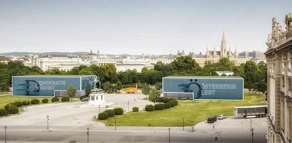 Ansicht temporäre Pavillons von der österreichischen Nationalbibliothek