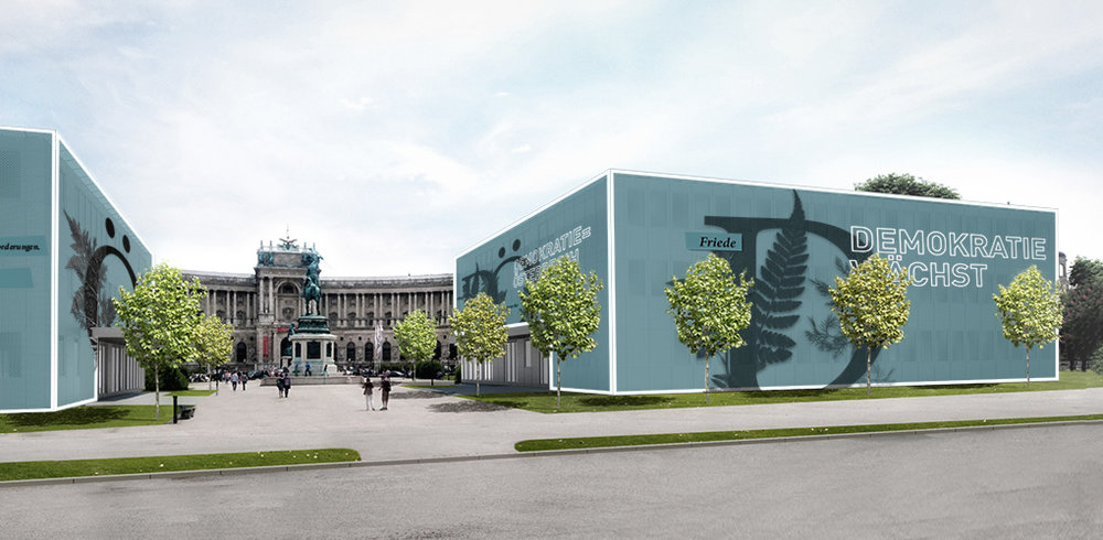 Ansicht temporäre Pavillons vom Volksgarten