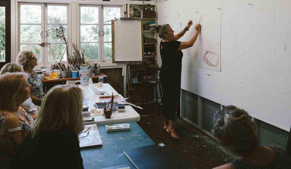 Glenda teaching in her studio at Bribie Island