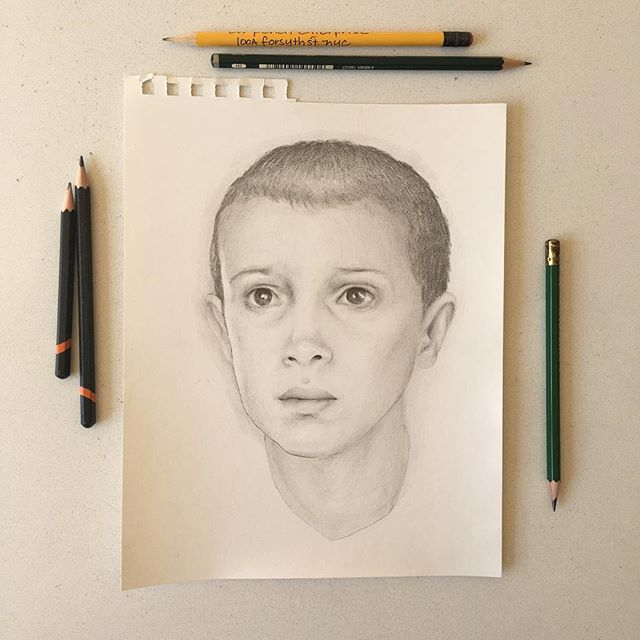 Stranger Things is just fantastic. @milliebobby_brown is spellbinding as Eleven. Here's my little tribute to a cracking show and it's brilliant heroine. @strangerthingstv