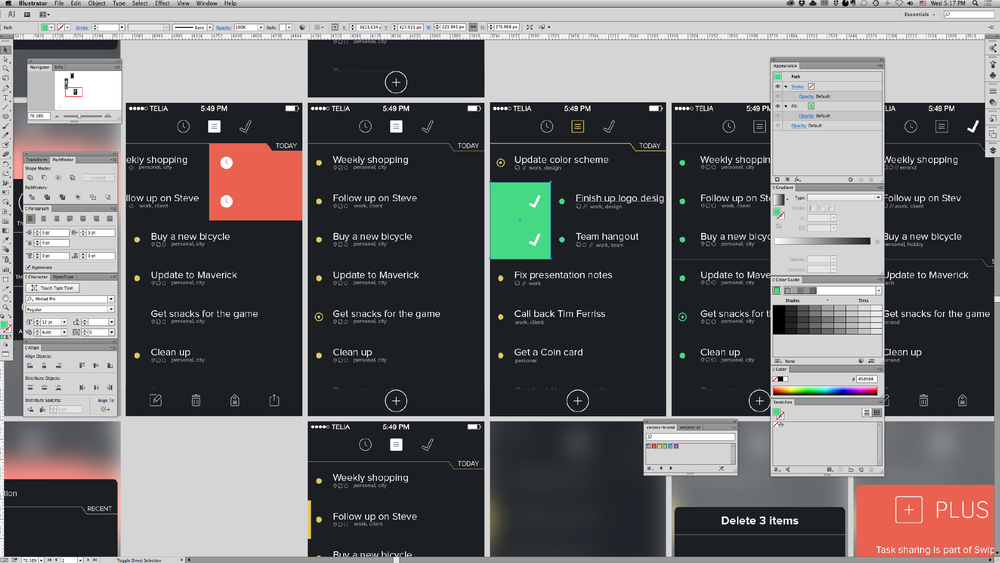 View of the main Illustrator work file for the Swipes UI.