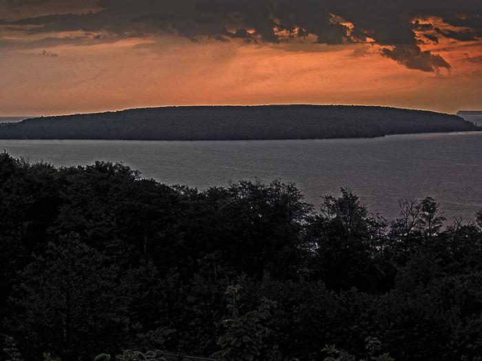 Grand Island at sunrise from Munising