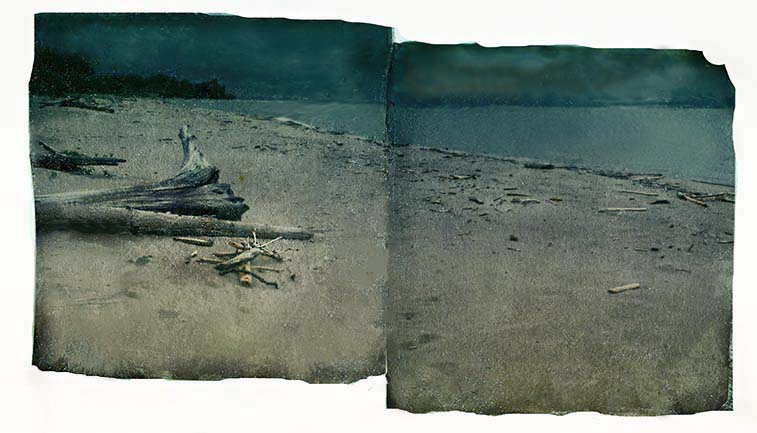 Polaroid SX-70 Emulsion Lift Diptych
