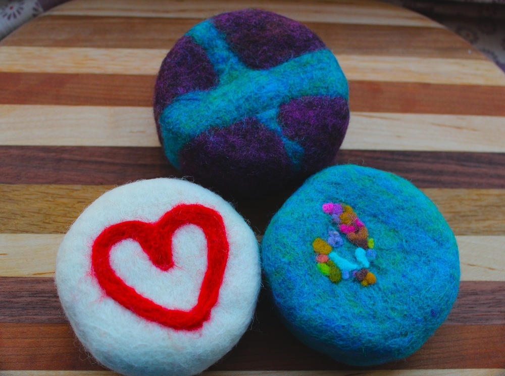 Felted Soaps made for classes in 2014 at the American Folk Art Museum and the Westside YMCA in New York City