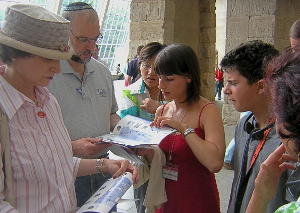 Tracey guiding museum patrons after a tour at the Metropolitan Museum of Art, 2004