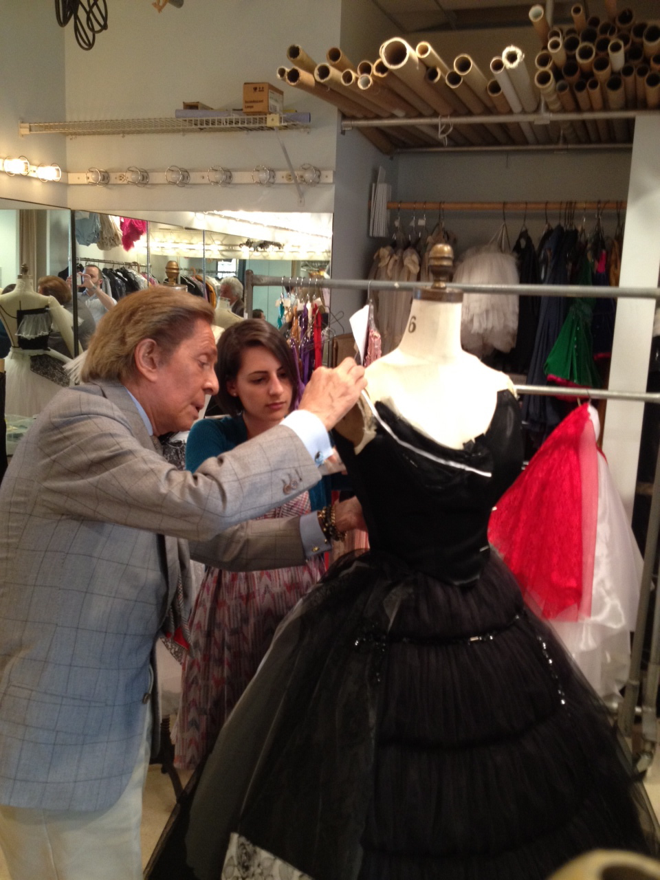 Tracey assisting Valentino in the New York City Ballet costume shop