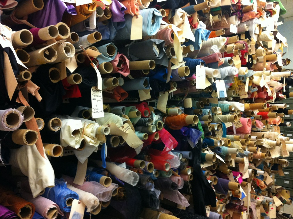 Fabric wall at the New York City Ballet Costume Shop.  Textile sourcing was Tracey's primary responsibility during her 6 years of service.