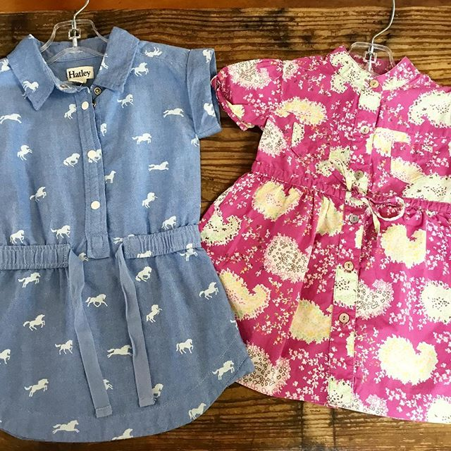 #hatley sweet horse dress 2 $14.99 and pink #elephantito print dress 2 $18.99 @otboutiques @529kidsconsign