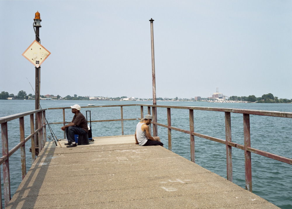 4x5 view camera. Summer in Detroit on a crooked pier off of Belle Isle
