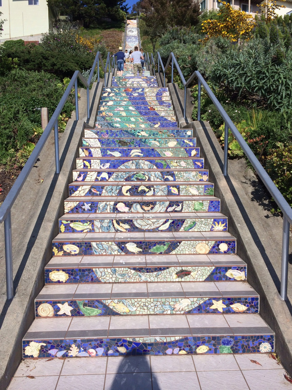 The stairs are decorated with an eye catching mosaic.  Donors' names are included on some tiles.  It was a nice little workout to make it to the top.