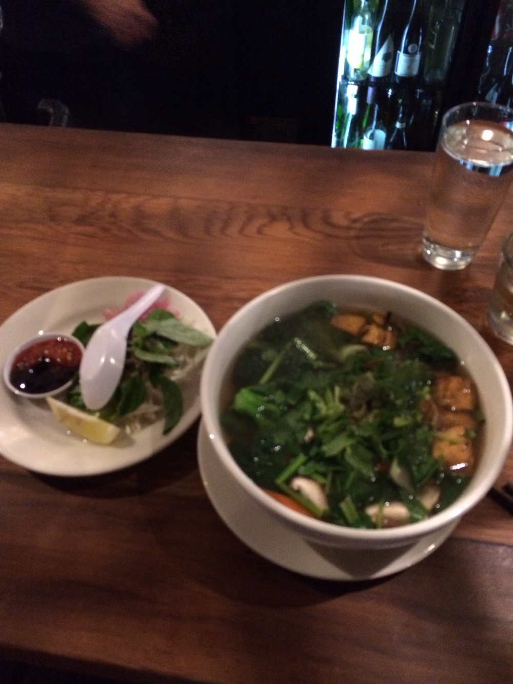 veggie pho with all the fixings at Mau