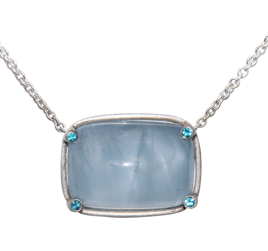 Aquamarine Cabochon Pendant accented by Paraiba Tourmaline set in Sterling Silver