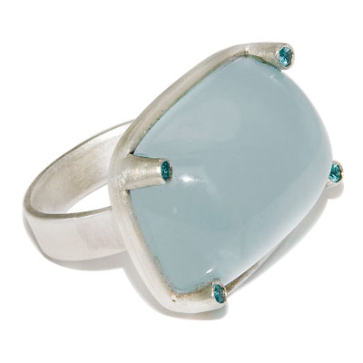 Aquamarine Cabochon ring with Paraiba Tourmaline accents set in Sterling Silvers