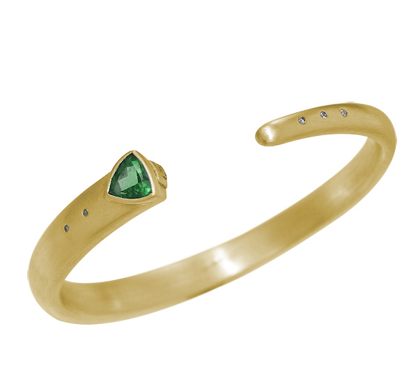Bracelet with faceted Emerald and Diamond accents set in brushed 14k Gold
