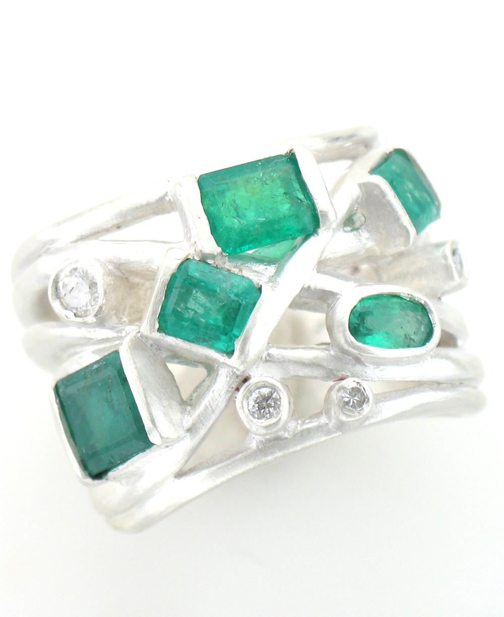Emerald, Diamond and Sterling Silver custom ring