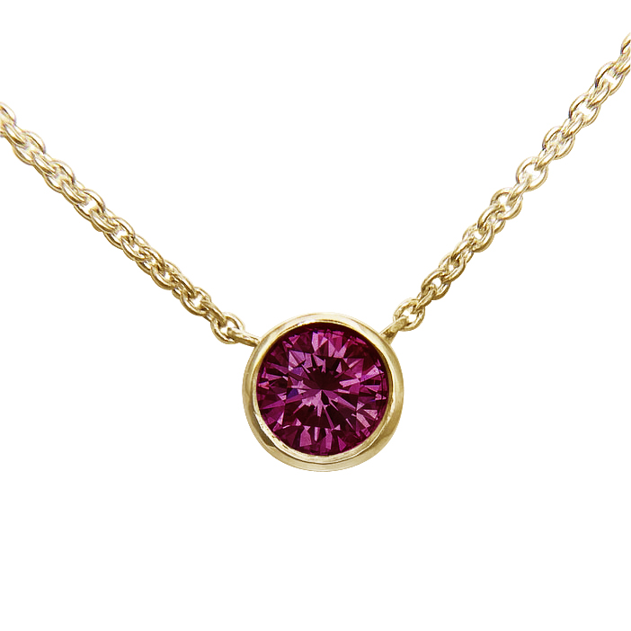 Faceted Rubellite Pendant set in 14K Gold