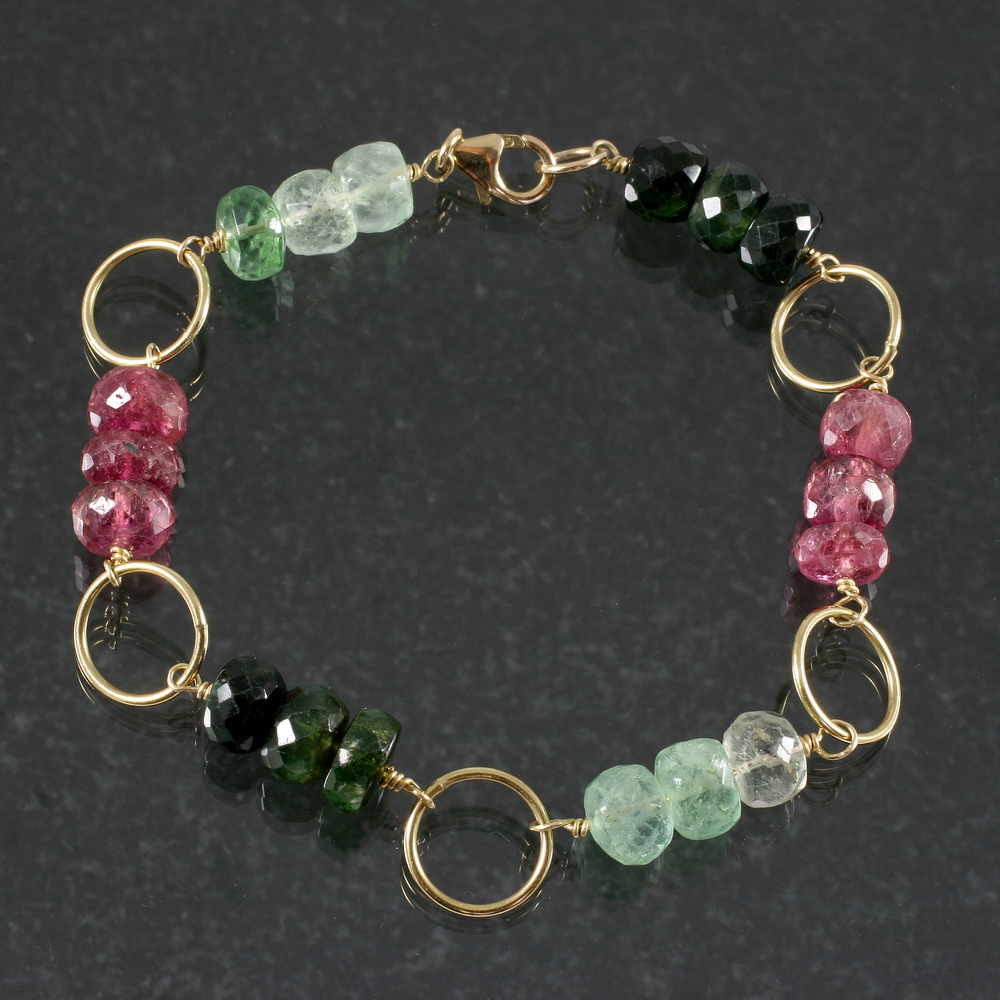 14k Gold-filled, Watermelon Tourmaline