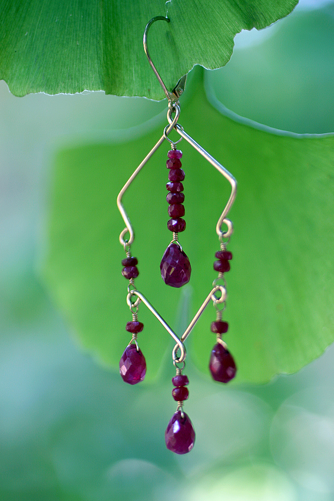14k Gold, Ruby Earring