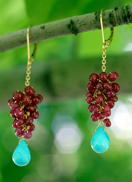 14k Gold, Ruby, Sleeping Beauty Turquoise Earrings