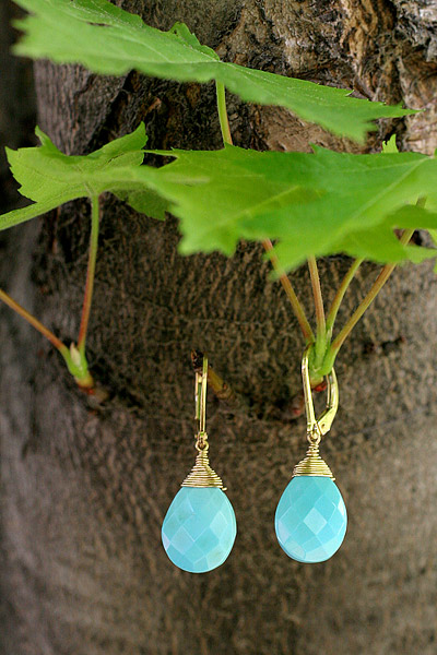 14k Gold, Sleeping Beauty Turquoise Earrings