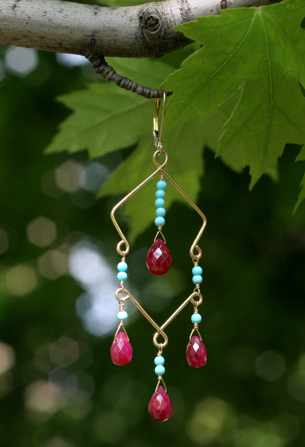 14k Gold, Ruby and Sleeping Beauty Turquoise