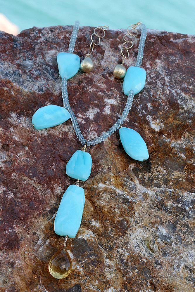 Peruvian Opal, Aquamarine, Citrine