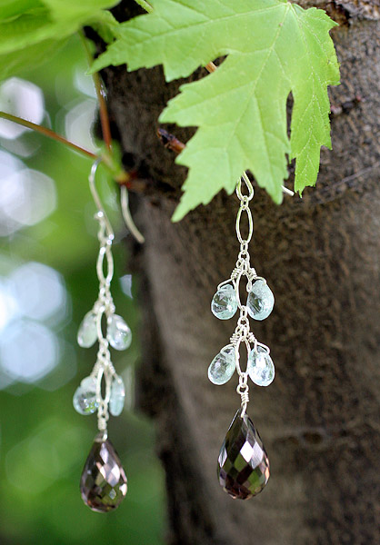 Sterling Silver, Smokey Quartz, Aquamarine Earrings