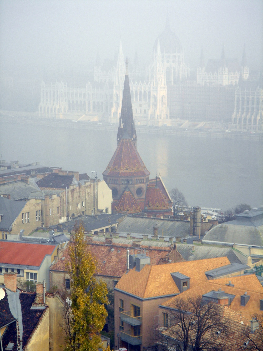 A foggy view of the Parliament Building over the Danube in Budapest, Hungary