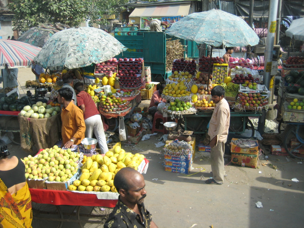 Fruit stands in Agra