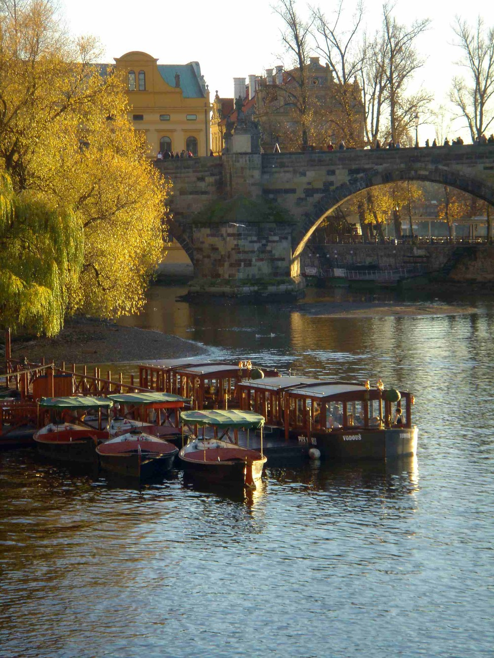 Riverboats in front of the Charles Bridge, Prague, Czech Republic