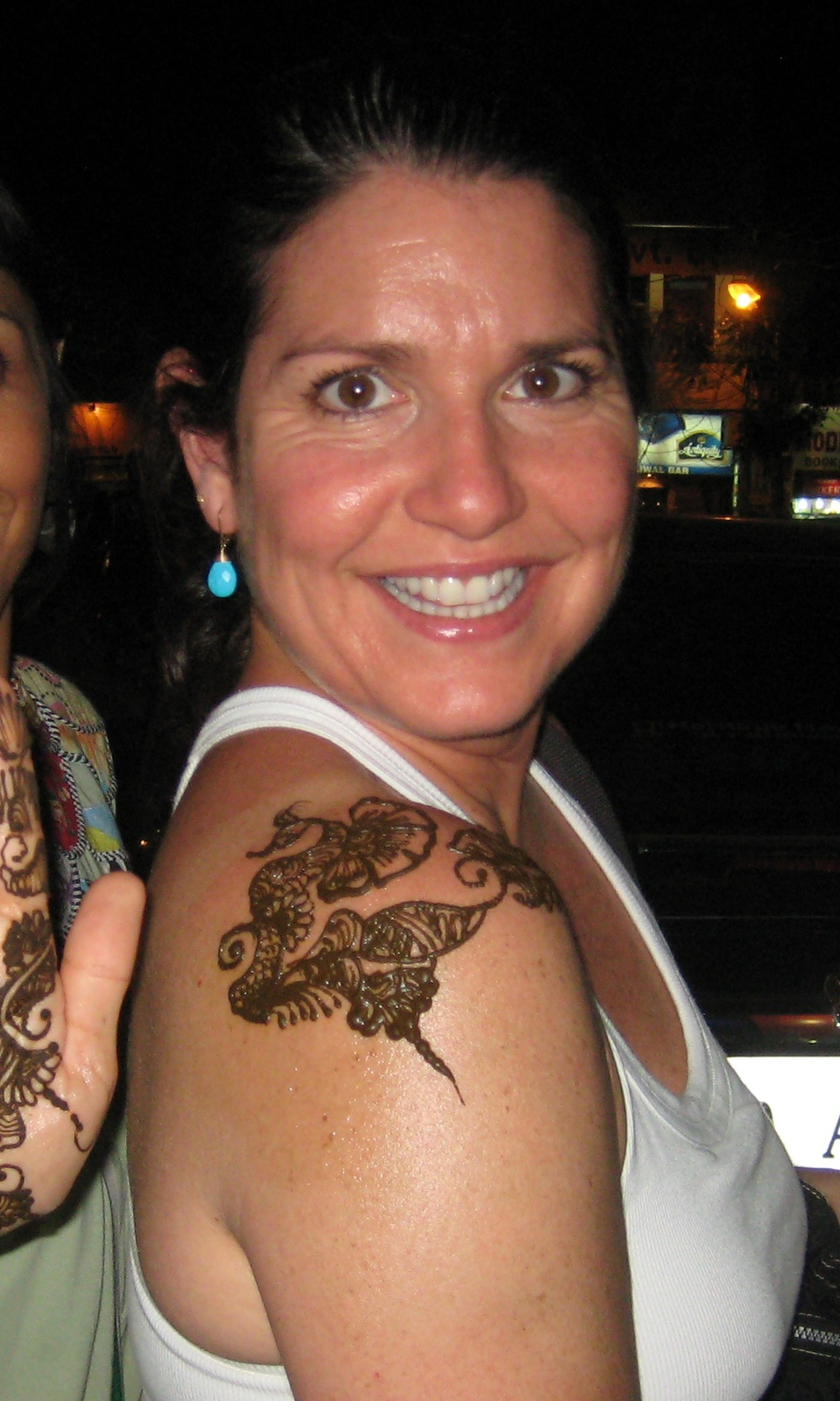 Showing off my new Henna tattoo, Agra