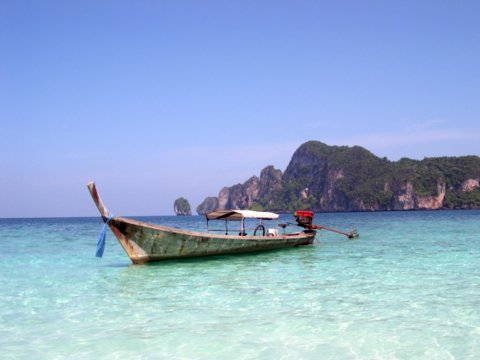 The crystal blue water of the Andaman Sea off Ko Phi Pi in Thailand