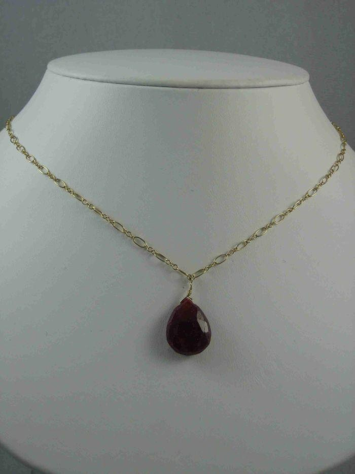 14k Gold Ruby Raindrop Necklace $145