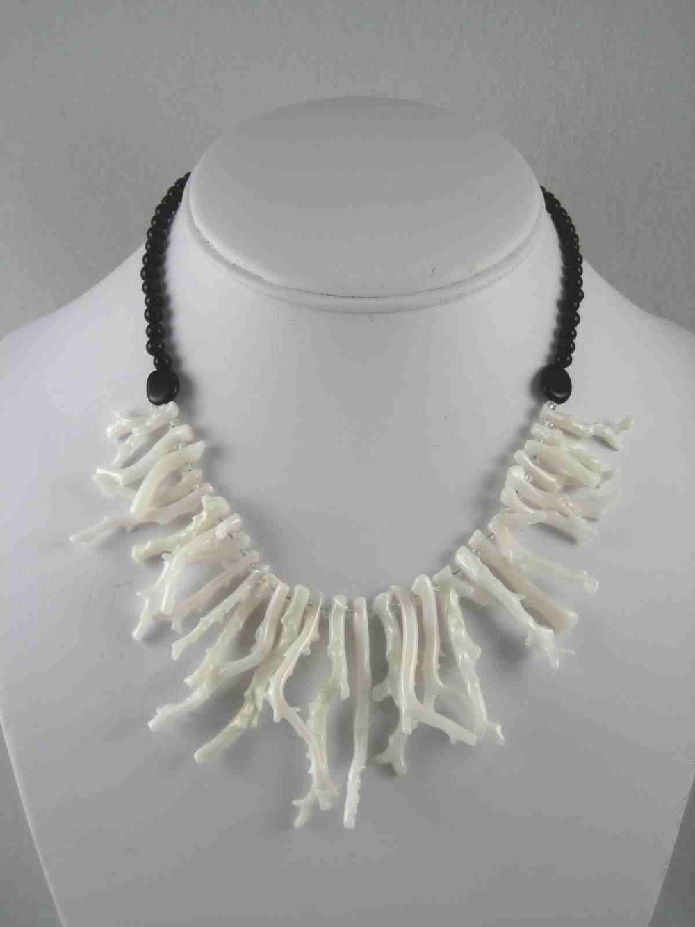 Coral Reef Necklace- White Coral, Onyx $135