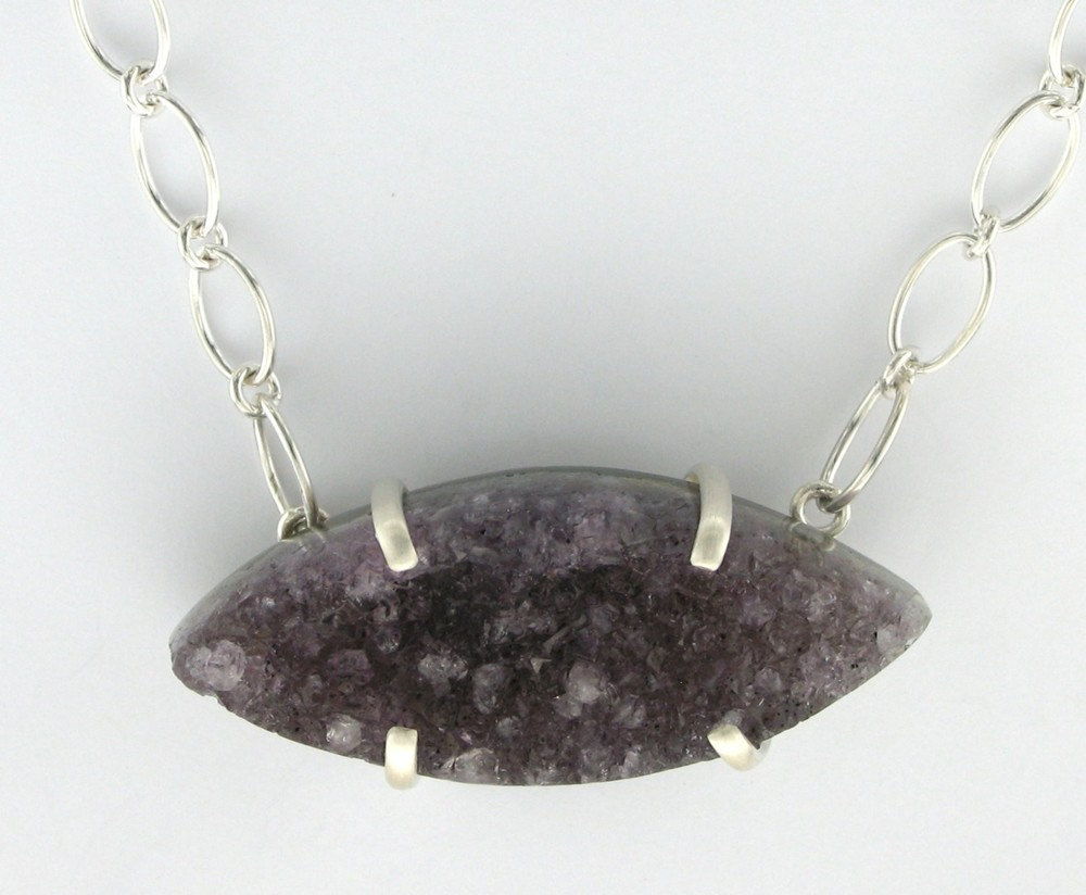 Sterling Silver Prong Amethyst Geode Necklace $155