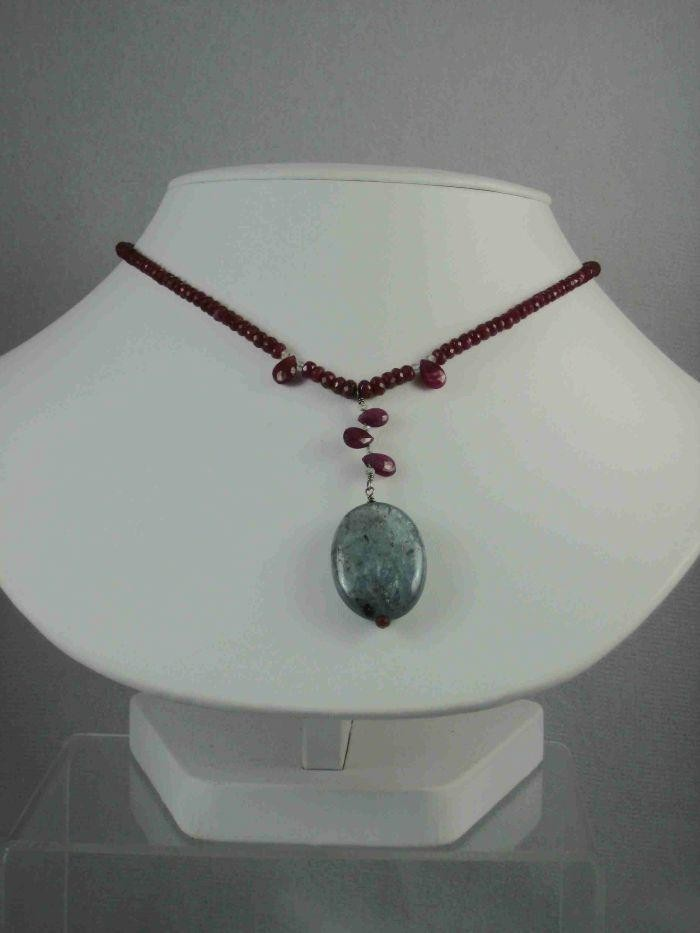 Sterling Silver Ruby and Kyanite Petal Drop Necklace $ 155