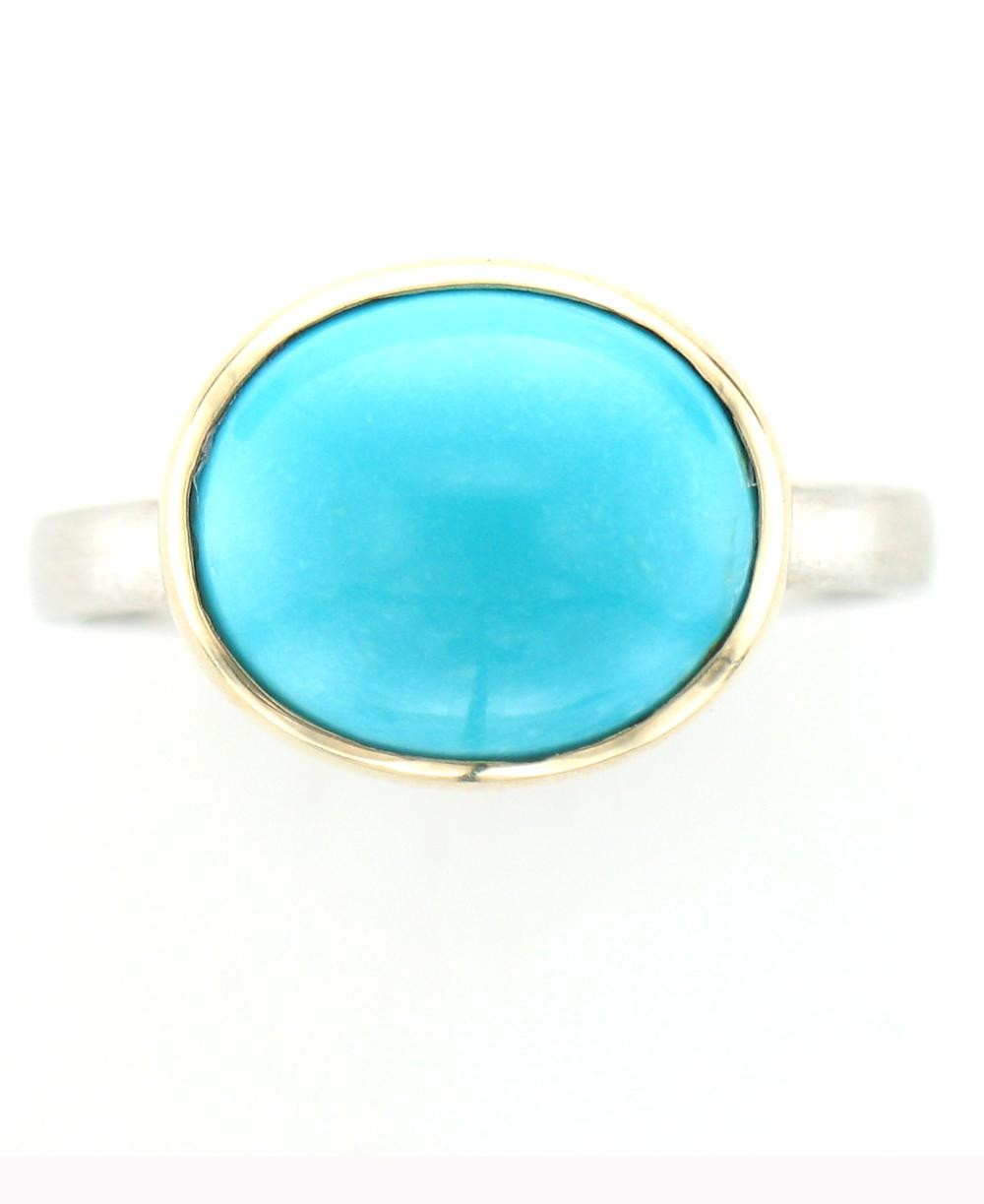Sleeping Beauty Turquoise Ring with 14K Gold Bezel Setting