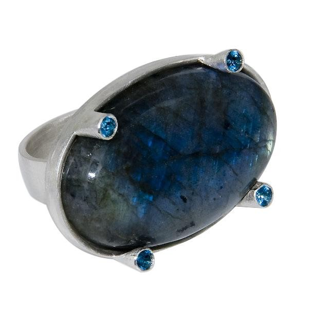 Sterling Silver Labradorite Galaxy Ring