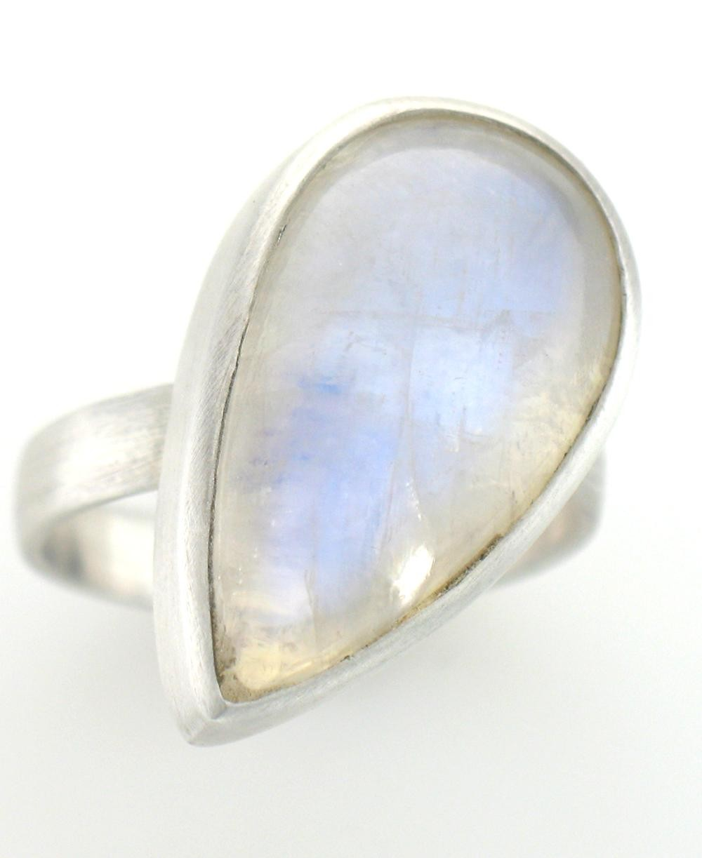 Sterling Silver Moonstone Raindrop Ring