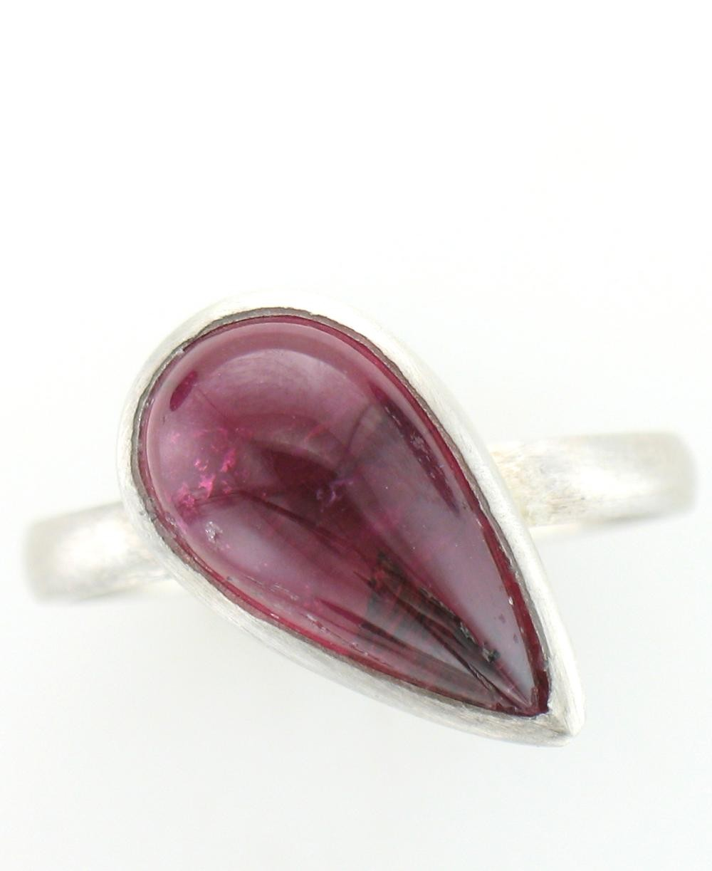 Sterling Silver Pink Tourmaline Raindrop Ring