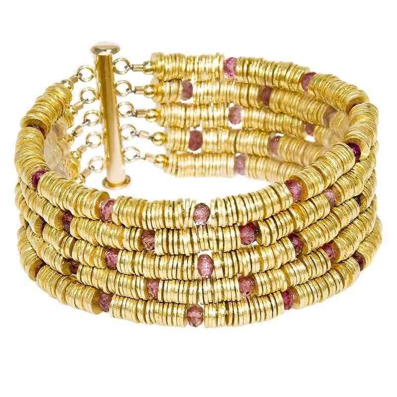 Gold Vermeil Tourmaline Serpent Bracelet