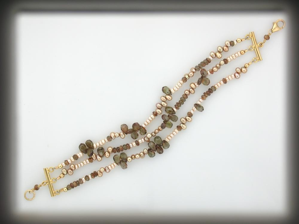 Andalusite and Pearl Multi-stranded Bracelet